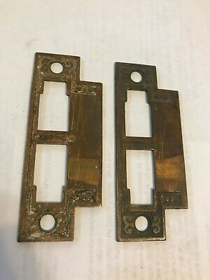 Antique Victorian Passage Mortise Door Lock Strike Plate Keeper 1800/'s