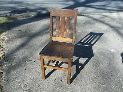 LAST LISTING! Antique Vtg 1/4 Sawn Solid Oak Mission / Arts & Crafts Side Chair