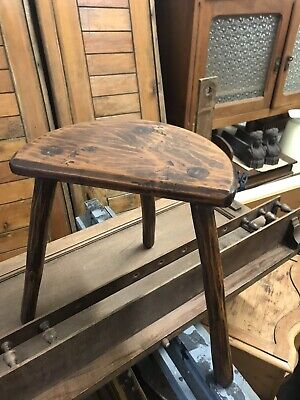 Vintage French  Rustic 3 Leg Wooden Milking Stool With Half Moon Seat