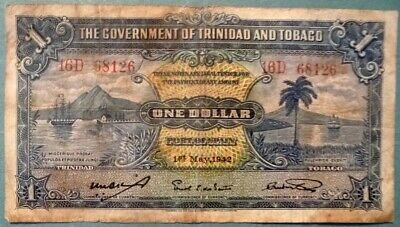 TRINIDAD AND TOBAGO 1 DOLLAR NOTE ISSUED 01.05. 1942, P5 c