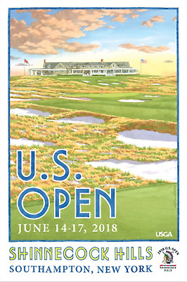 """US OPEN 2018 Shinnecock Hills NY Official 12x18/"""" PRINT by Lee Wybranski New $30"""