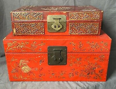 Two Antiques Chinese 19th Century red lacquer boxes