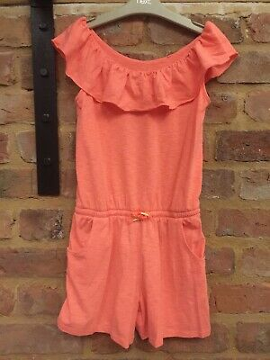 Next 2018 Bardot Coral Neon Orange Holiday Summer Playsuit 9 Years Worn Once