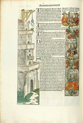 """Nuremberg Chronicle TWO Fine Art Archival Quality Print Mounted .12x18"""" .NEW"""