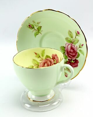 Vintage Foley Green Yellow Pink Rose Footed Bone China Teacup & Saucer England