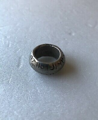 Very Rare Antique Viking or Medieval Real Silver With Inscription Ring
