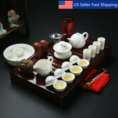 Chinese Ceramic Kung Fu Tea Set With Wooden Tea Tray And Small Tea Cups