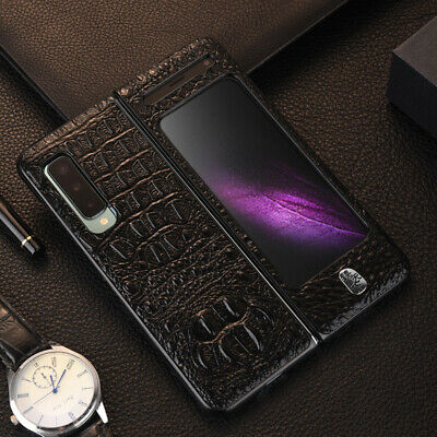Genuine Leather Crocodile Pattern Full Case Cover For Samsung Galaxy Fold