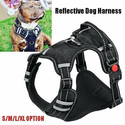 Reflective Nylon Pet Dog Harness Padded Heavy Duty Pet Vest Medium Large