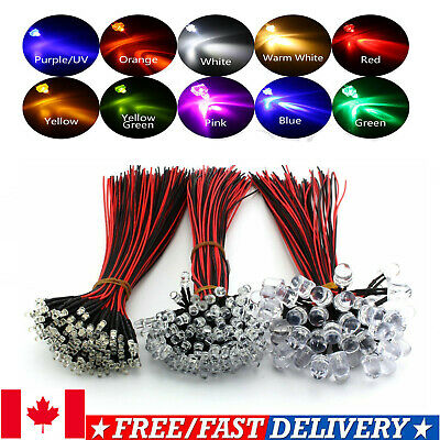3mm/5mm/10mm  Pre-Wired LED Bulb light Emitting Diodes Lamp Red Blue White RGB