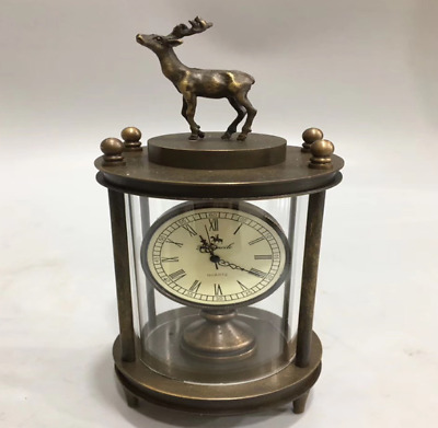 Collectables old delicate brass mechanical sika deer horologe