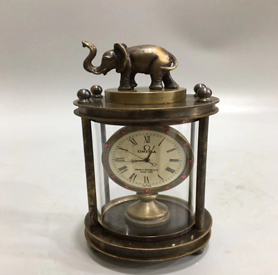 Collectables old delicate brass mechanical Elephant horologe