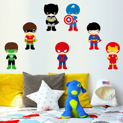 Avenger Cartoon Wall Sticker Nursery Boys Room Mural Decal Super Hero Art Decor