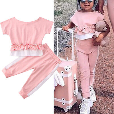Toddler Kids Baby Girls Clothes Ruffle Tops + Pants Outfits Sports Set Tracksuit