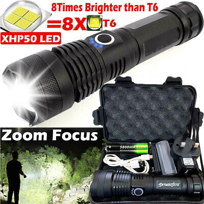 Rechargeable 900000 lumens XHP50 Most Powerful LED Flashlight USB Zoom Torch UK
