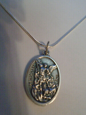 St Michael Archangel + Guardian Angel Medal 925 Sterling Silver Chain Necklace