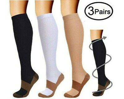 (3 Pairs) Copper Infused Compression Socks 15-20mmHg Graduated UNISEX S-XXL