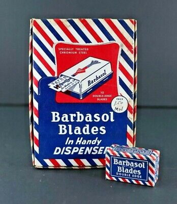 Vintage Barbasol Blades Handy Dispenser Counter Top Display W/  6 Full Boxes