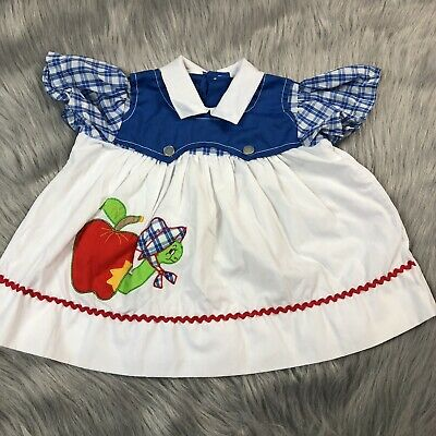Vintage Baby Girls Dress Top White Blue Plaid Apple Worm Back To School