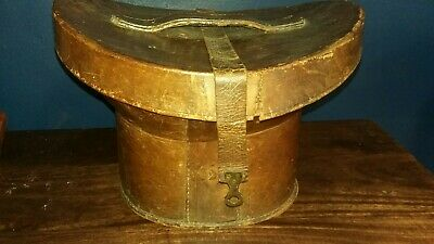 Antique Early English Leather Top Hat Box for restoration