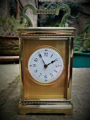 Superb Quality French Gilt Brass Masked Striking Carriage Clock C1880 - Vg Cond