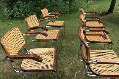 set of 6 1920s Marcel Breuer Cesca Thonet Dining arm chairs Walnut GFM Italy B64