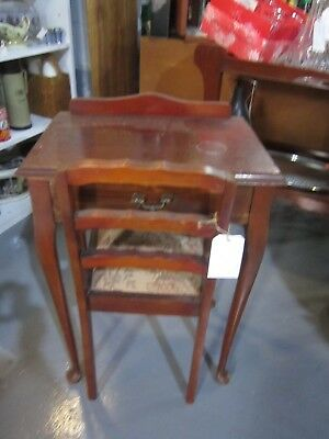 Antique Vintage Small One Drawer Telephone Hall Table or Desk & Chair