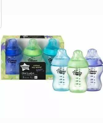 3 Tommee Tippee Baby Feeding Bottles Colour My World 260ml 9oz Blue Green Violet