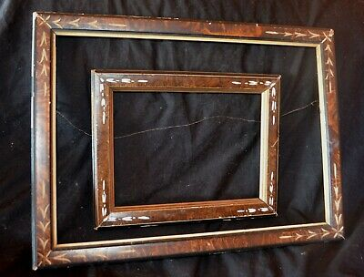 Pair EASTLAKE Aesthetic Victorian Carved Walnut Ebonized Picture Frames
