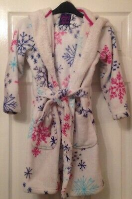 Girls TU Hooded Snowflake Dressing Gown-Bathrobe With Pockets - Age 8-9 Years