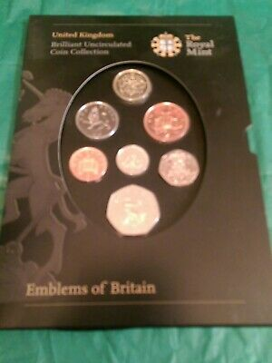 The Royal Mint Coin Collection,Brilliant Uncirculated,Emblems of Britain,7 Coins