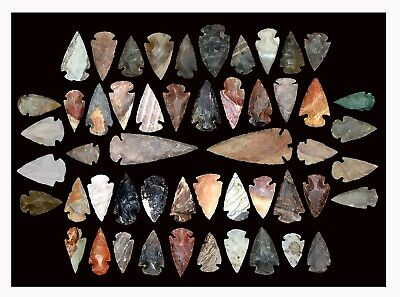 50+ stone arrowheads/spearheads Large 3-3 1/2 inches small 1-2 inches Awesome