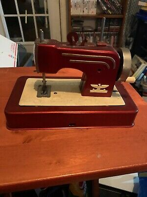 Antique CASIGE SEWING MACHINE Childs Tin Hand Crank Toy Green Germany 1940's-50s