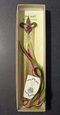 Brass Bookmark Bar Made for Horchow by Kimberly Wolcott. Crystal & Fluer De Lis