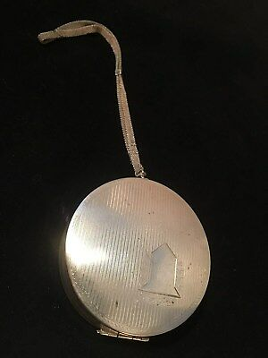 Antique Sterling Silver Double Sided Compact w/ Mesh Slide Wrist Chain