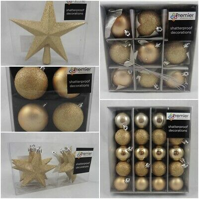 Christmas Tree Decorations Shatterproof Baubles 40 Pc Champagne Gold Multi Pack