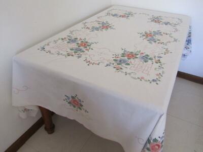 Prettiest Vintage Cotton Banquet TABLECLOTH Pastel Pink & Blue