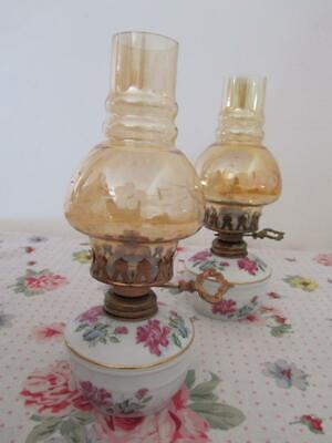 Vintage Porcelain Pink Roses OIL KEROSENE LAMP Glass Chimney