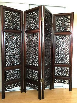 Oriental Hand Carved 4-Panel Rosewood Foldable Screen/Room Divider