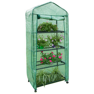 4 Tier Mini Greenhouse PVC Plastic Outdoor Garden Steel Frame Grow House w/Cover