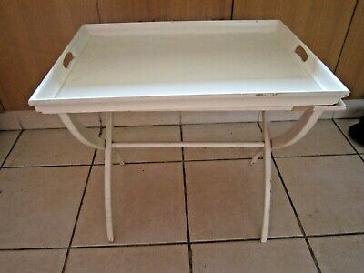 Vintage Retro Shabby Chic White Butlers Table Tray & Stand