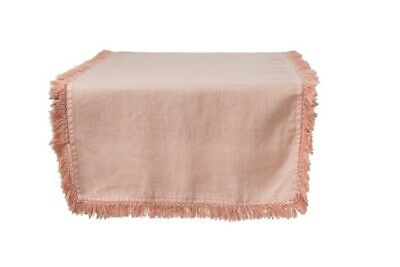 Rustic Stonewashed Linen Table Cloth Runner Dining Setting with Fringe Edging