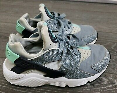 Womens Girls Silver Lizard - Mint Nike Air Huarache Trainers Size 4 Fit 3.5 3