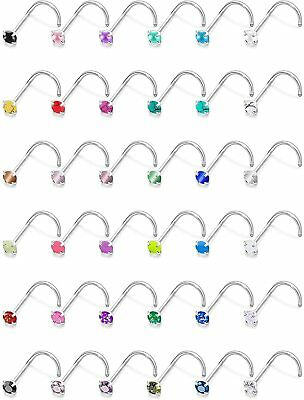 Dyknasz 36Pcs 20G Stainless Steel Stud Nose Ring CZ/Opal/Glow in  (A: 36pcs-20g)