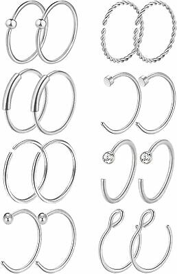 Masedy 16Pcs 20G 316L Stainless Steel Nose Rings Hoop H:  (H: 36Pcs Rose Gold Q)
