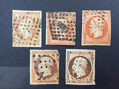 Lot 5 Timbres France 1854 oblitérés. YT 16, 40 centimes orange