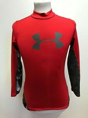 L1012 Boys Under Armour Red Grey Long Sleeve Sport Skinny Top Age 10-12 Years