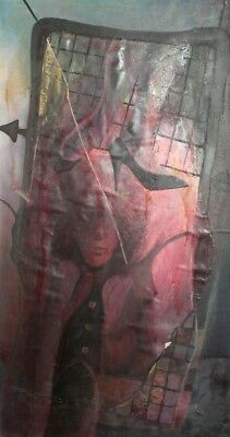 1985 Abstract Surrealist Portrait Oil Collage Painting Signed
