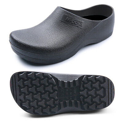 Mens Slip On Closed Toe Work Shoes Cook Chef Kitchen Hotel Restaurant Flat Clogs