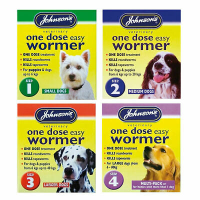 Johnson's One Dose Wormer Puppy Dog Cat Roundworm Tapeworm Worming Tablets